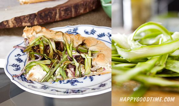 Shaved Asparagus, Fig and Goat Cheese Galette with Balsamic Reduction