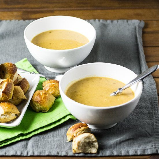 Beer-Cheese Soup & Rosemary-Parmesan Pretzel Bites.
