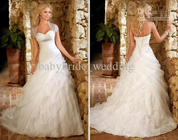 Wholesale popular white organza a line wedding dress with jacket