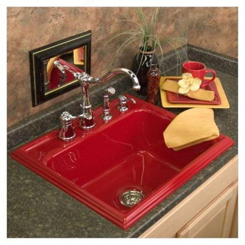 red sink  Should Have Perfect Red Kitchen Sink Too  Small