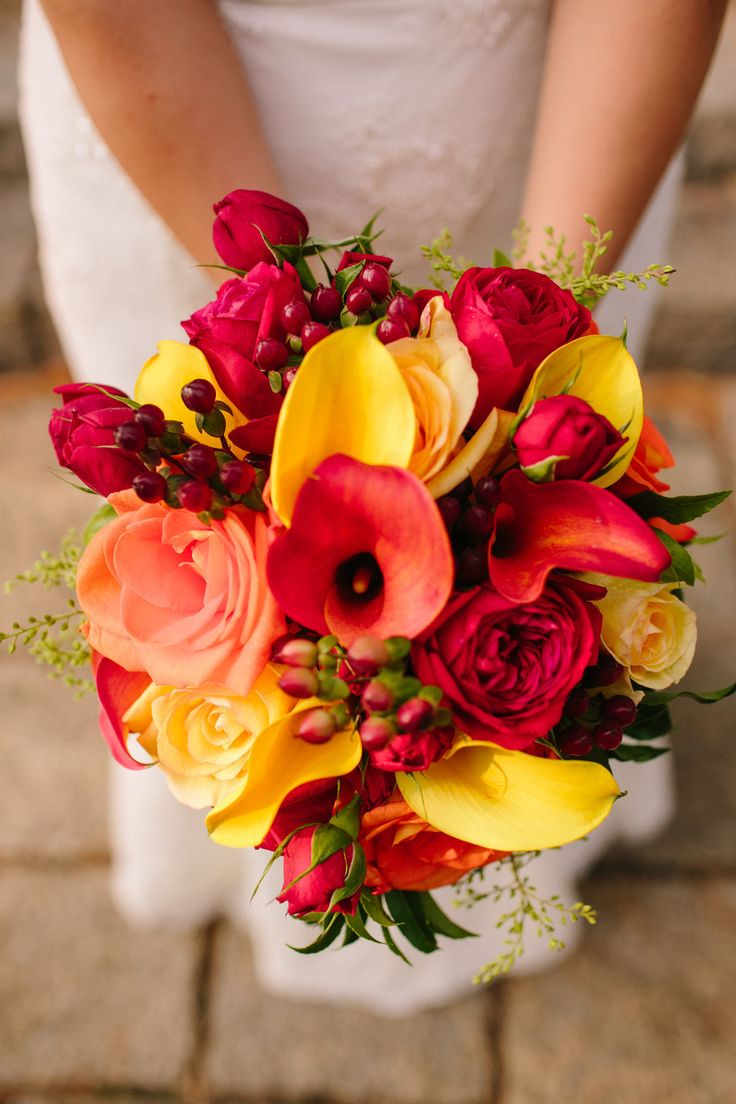 Orange, yellow, red, hints of green - all stunning colors for a fall wedding! Shop roses, hypericum, mini calla lilies, and other beautiful fall wedding flowers at GrowersBox.com!