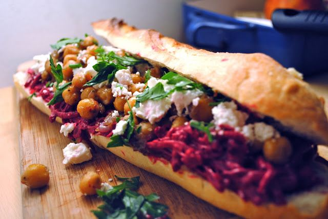 Beet Tzatziki-Feta-Fennel-Chickpea-Parsley Sandwich
