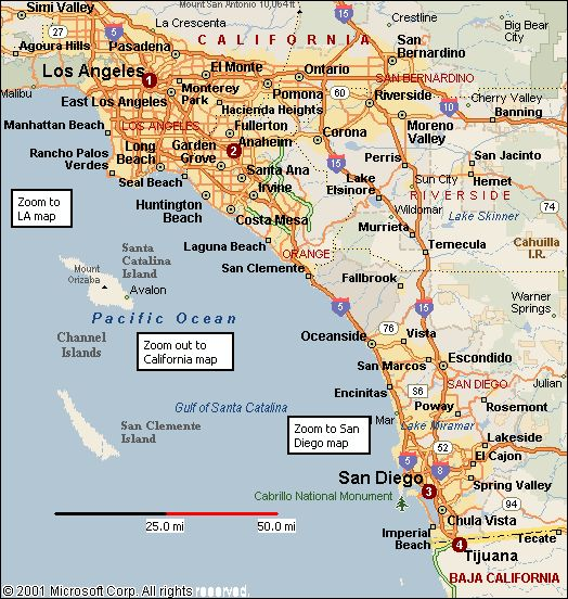 California Map Of Southern California California Love