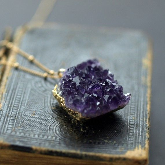 Amethyst raw crystal necklace in gold