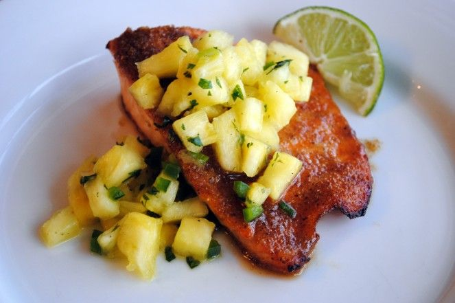 Salmon with Pineapple Salsa by ATK (Broiled Salmon with Pineapple ...