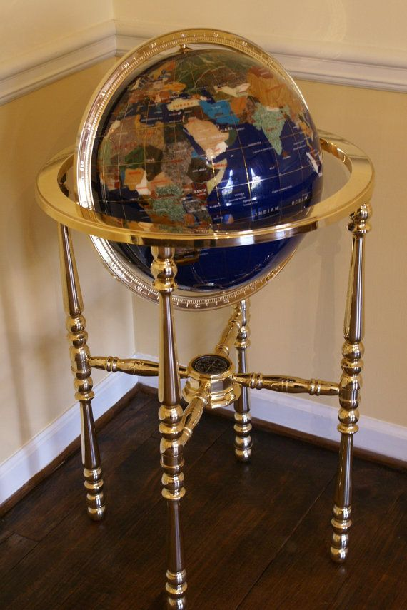 vintage floor standing inlay gemstone world earth globe