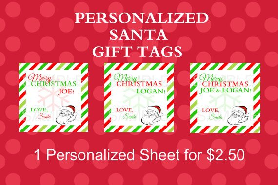 PERSONALIZED Santa Gift Tags on Etsy, $2.50