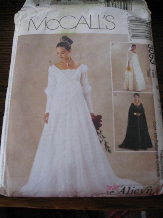 Wedding Dress Pattern Renaissance McCalls 3053 8 10 12 Uncut