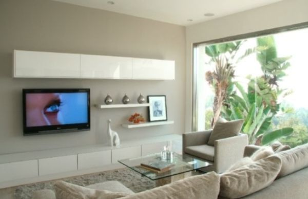 Modern living room wall mount tv design ideas for Wall cabinets for tv components