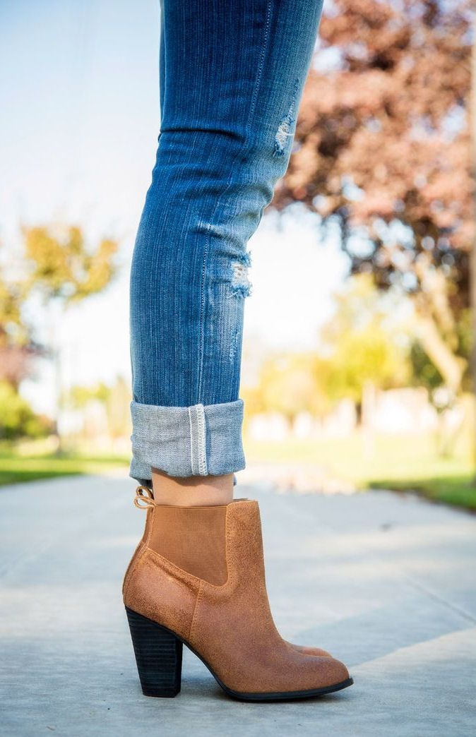 Ankle boots + cuffed jeans.