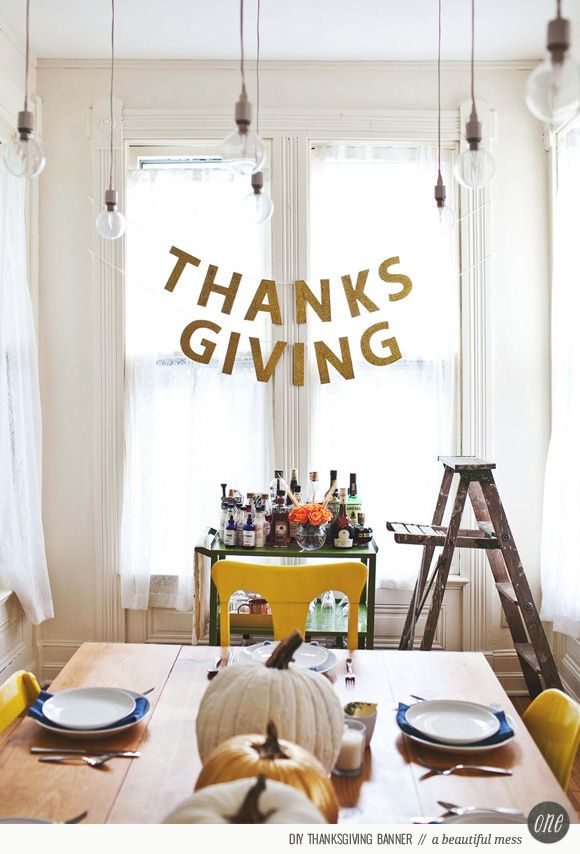 diy gold thanksgiving banner