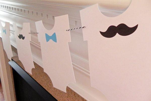 banner little man bow tie and mustache onesie garland baby shower