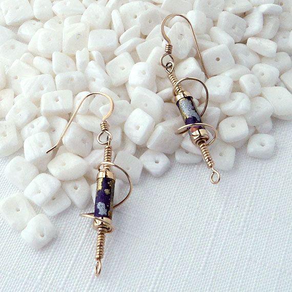Handmade Paper Bead Earrings  Plum and Gold Foil Spiral Drop- Made    Handmade Paper Earrings