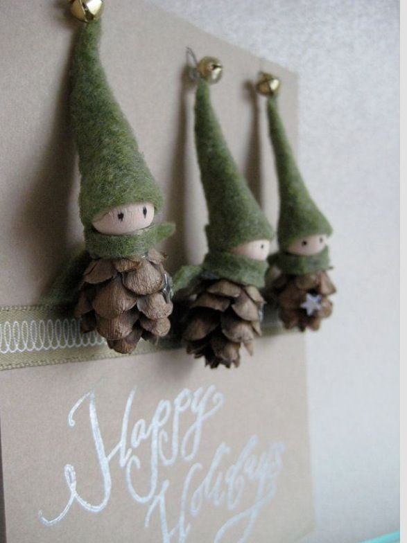 Christmas Pine Cone Elf Ornaments Christmas Pinterest