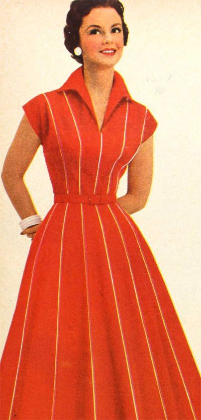 During the 1950s women's dresses were made with halter type tops, collars and had floral patterns and stripes. The phrase to describe this type of fashion was commonly called elegant ease. The waistline on dresses was commonly marked with a tight belt with a large skirt. CA