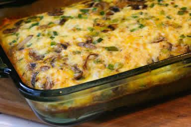 Breakfast Casserole with Mushrooms, Bell Peppers, and Feta