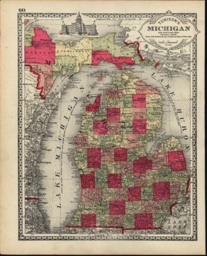 Michigan Lake Huron Wayne Monroe County 1885 antique hand color lit