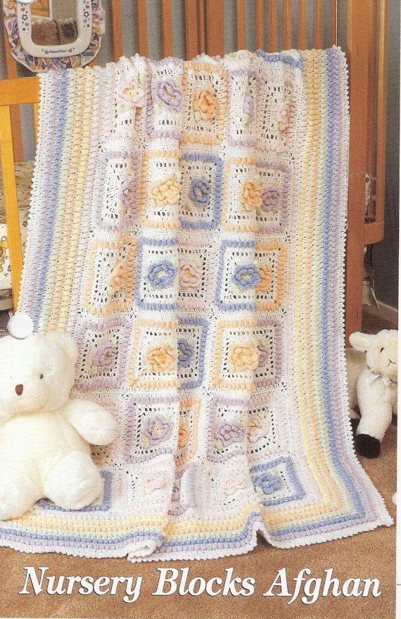 Nursery Blocks Afghan Crochet Baby Blanket Pattern