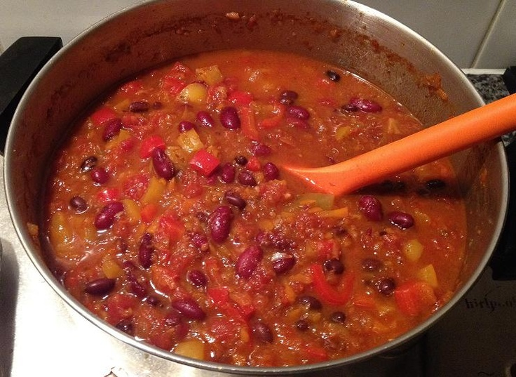 Spicy vegetarian chili...@Amanda Snelson Messmer and I made this once ...