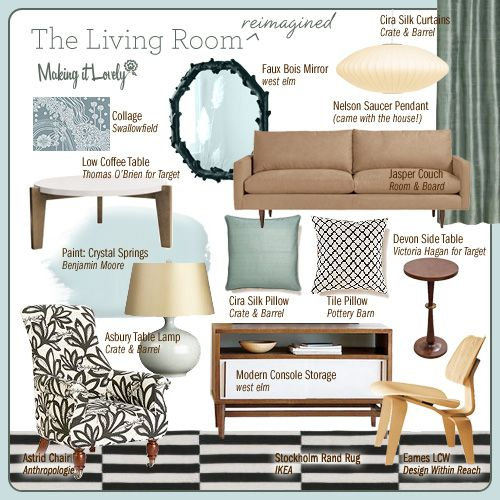 Blue/brown living room