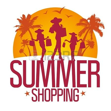 Summer shopping design template with fashion girls silhouette against ...
