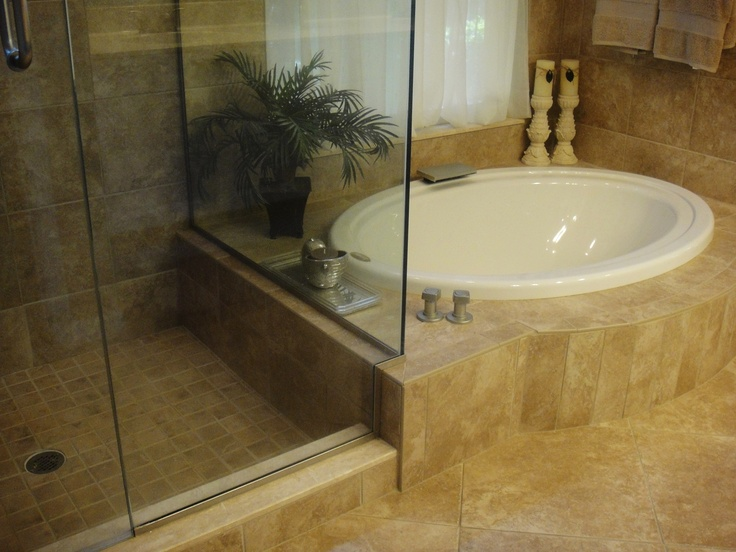 garden tub and walk in shower real home pinterest