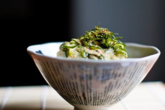 Chilled cucumber with sesame miso broth over rice (Hiyashijiru). for ...