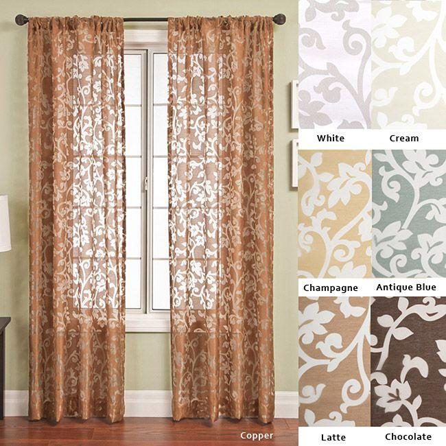 Bellino scroll rod pocket 96 inch curtain panel for Window scroll