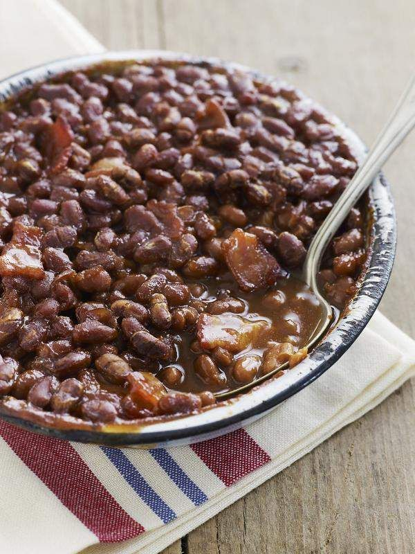 California Gold Rush Baked Beans with bacon, brown sugar, ketchup and ...