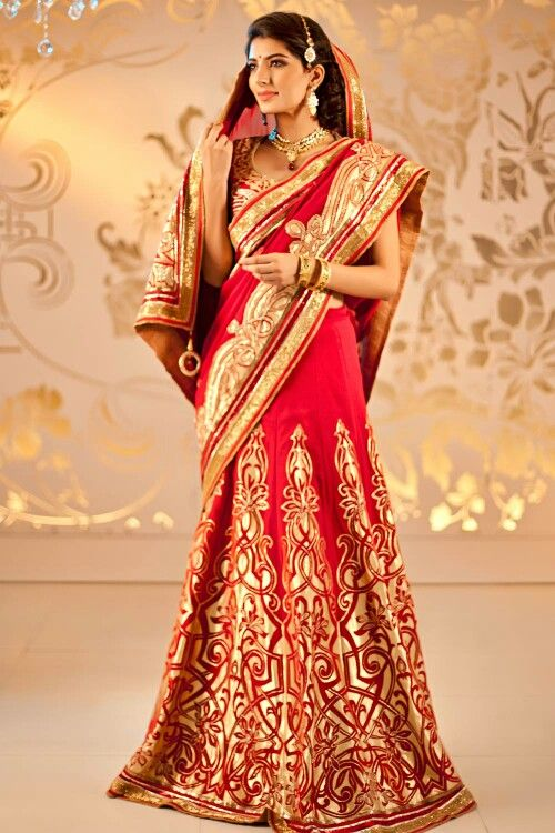 Gold and red bridal dress india fashion pinterest for Red and gold wedding dress
