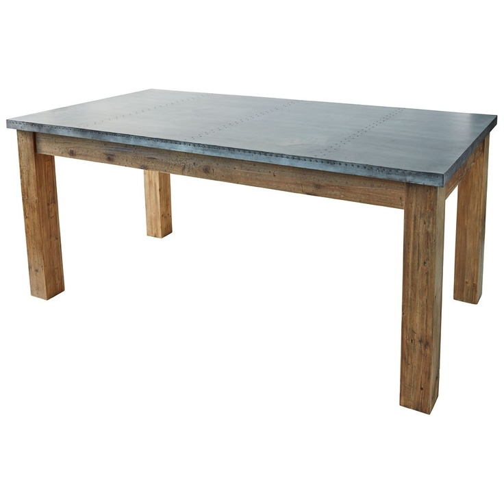 Zinc dining tables zinc top borges dining table maison for Table exterieur zinc