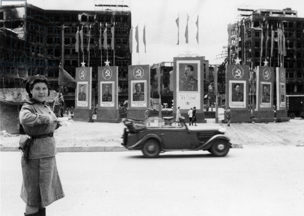Soldier Directing Traffic Russian Woman 70