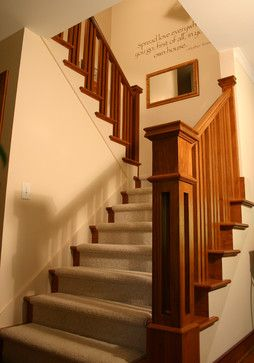Craftsman Style Staircase stair finishes Banister main pillar Edge near Bannister Newel post Wall quote handrails and baluster spacing,  Carpeted stairs