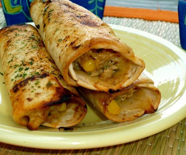 Crispy Chicken Tortilla Rollups w/Spicy Avocado Dip