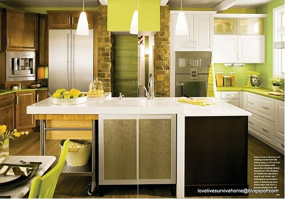 Eclectic lime green kitchen Stained & white cabinets, stone wall and