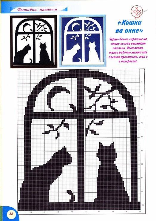 Кошки на окошке схема вышивки