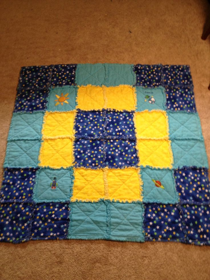 Baby rag quilt outer space theme rag quilts pinterest for Outer space quilt