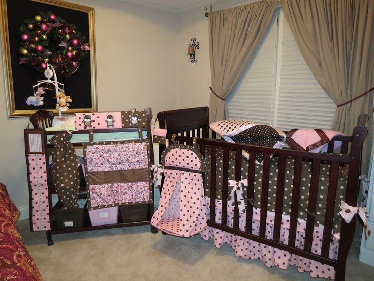 Pink and brown baby bedding