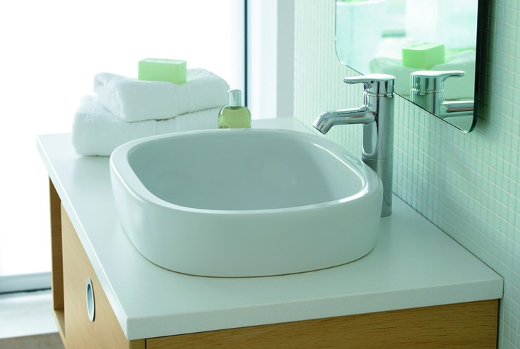 Small White Sink : little white sink. wood base small bathroom solutions Pinterest