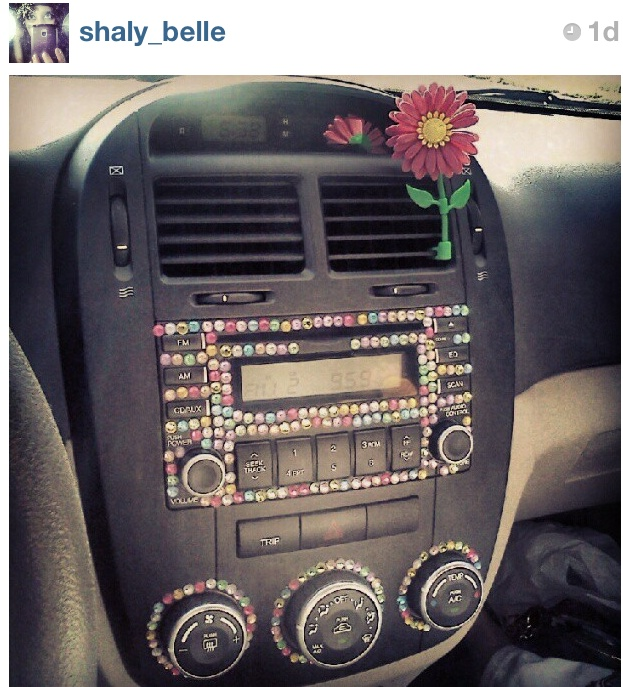 Bedazzled car interior this creative idea repinned by for Car inner decoration
