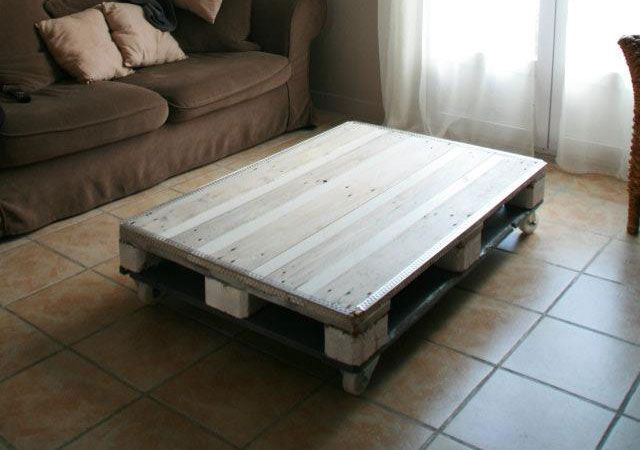 Table basse palettes pinterest - Fabrication table basse palette ...