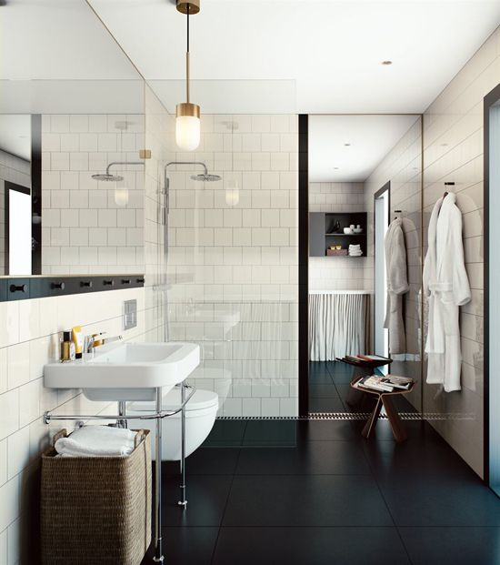 Serene scandinavian bathroom bathrooms pinterest - Salle de bain sol noir ...