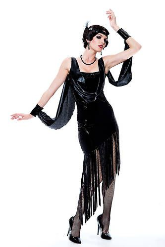 FLAPPER 1920s black long dress sexy womens adult costume ...