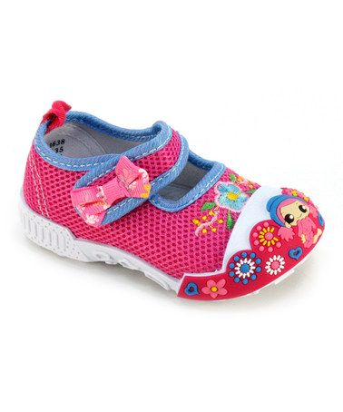 Fuchsia Mary Jane Bow Sneaker by Frisky Shoes on #zulily! #zulilyfinds