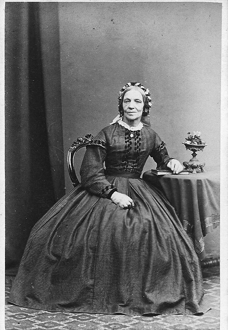 1860s cdv tiny check fabric with cute trims of black velvet buttons