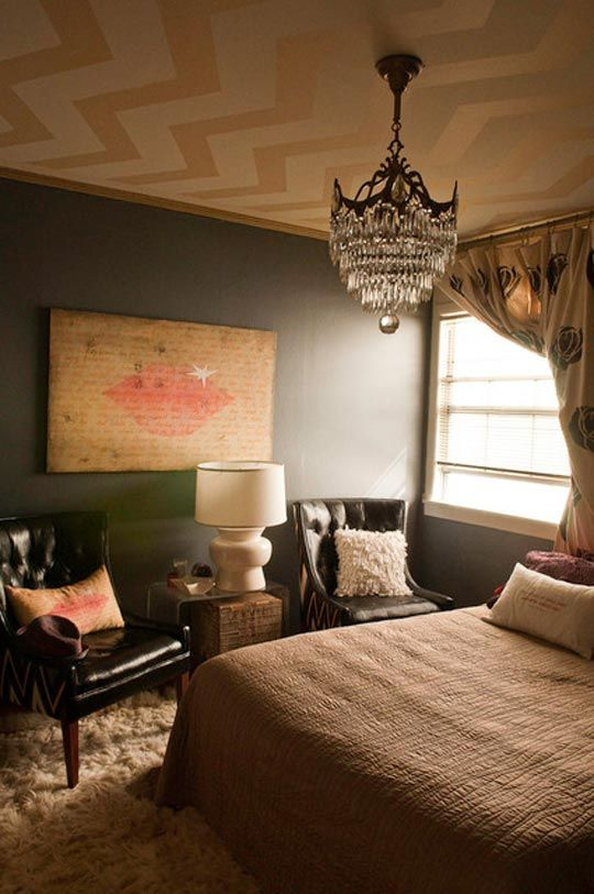 A Dramatically Glamorous Bedroom Roommarks. Chevron Ceiling.