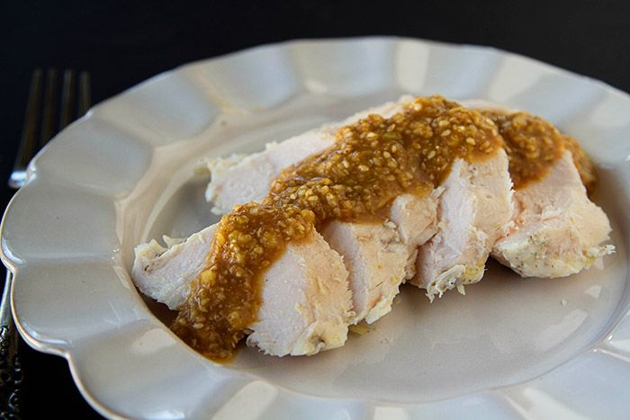 Sous Vide Ginger Chicken with Ginger Sesame Miso Sauce