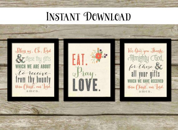 Eat pray love we give you thanks wall decor printable kitchen wall