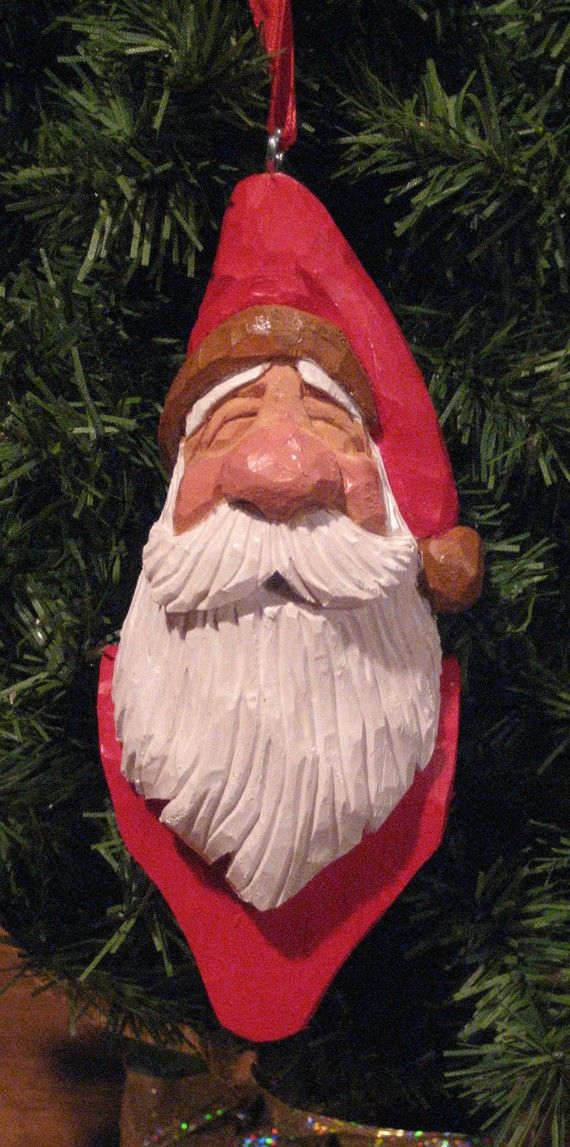 Hand carved wooden jolly santa ornament