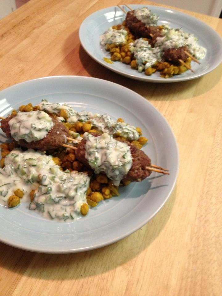 Lamb Kofte Kebabs with Sautéed Chickpeas & Cucumber Yogurt Sauce | Re ...